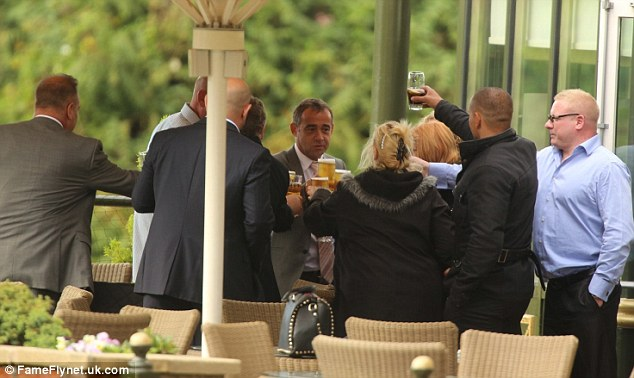 Salute: The family and loved-ones of Michael Le Vell toasted him as they digested the news he had been cleared in a local hotel