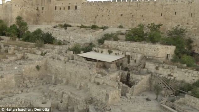 The discovery was made in the ruins of a Byzantine public structure located  in the Ophel region between the city of David and the southern wall of the First Temple, (pictured). This area is thought to be part of an ancient city wall of Jerusalem dating back to the 10th century BC, possibly built by King Solomon