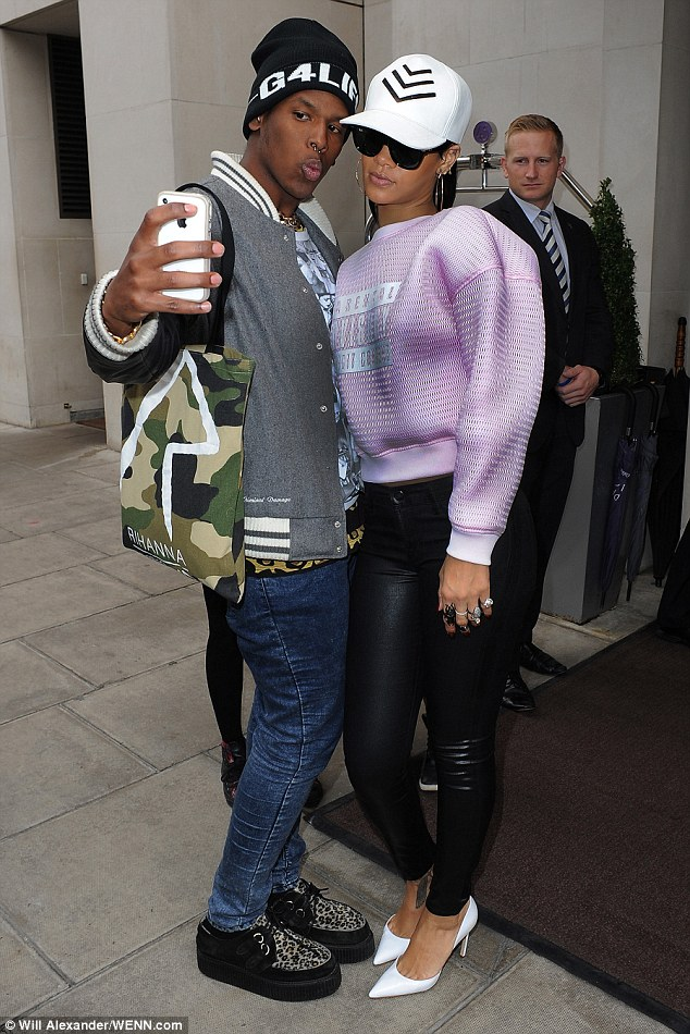 Greeting her public: The star was happy to pose with a fan before heading off to record Chatty Man