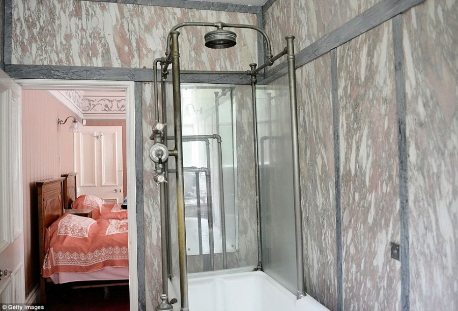 Antique: An on suite bathroom shower next to one of the bedrooms at Pineheath which was used by Sir Dhunjibhoy and Lady Bomanji during the autumn