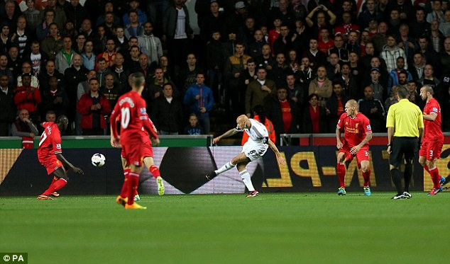 Quick starter: Shelvey struck from close range early on to put the Swans ahead