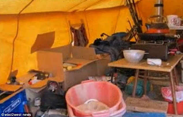 Hideout: Inside the tent where mother Inessa and 13-year-old Anastasia were caught by police