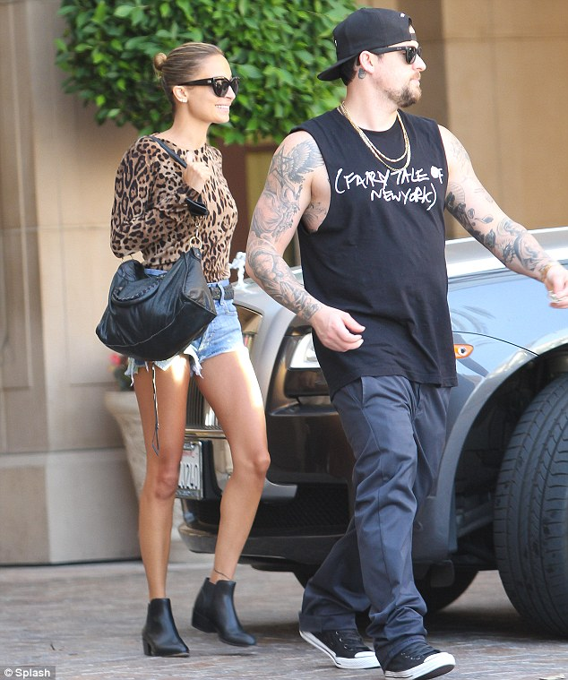 Looking good: Nicole Richie looked super chic as she and her husband Joel Madden were spotted leaving The Montage hotel in Beverly Hills