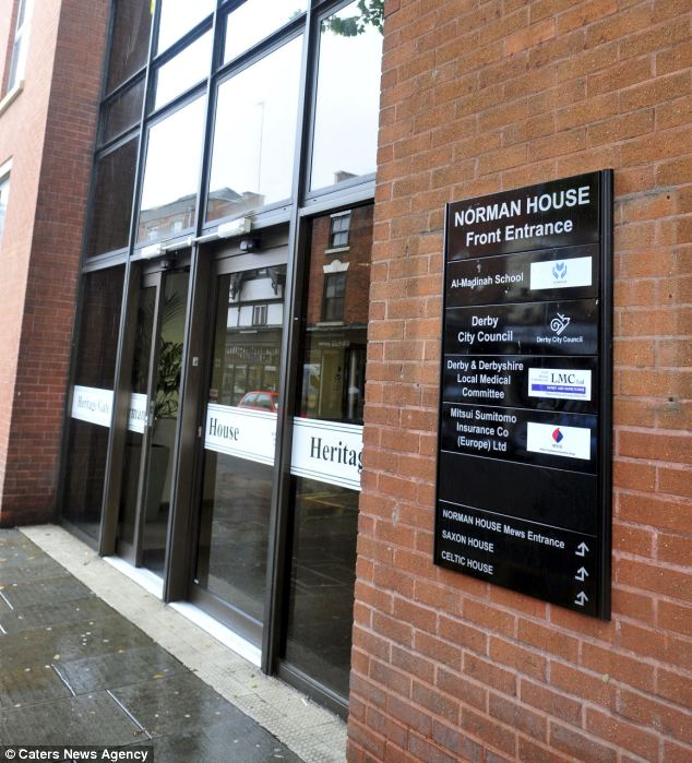 Banned: Non-Halal food is thought to have also been banned at the school, some of which is based in Norman House in Derby, pictured.
