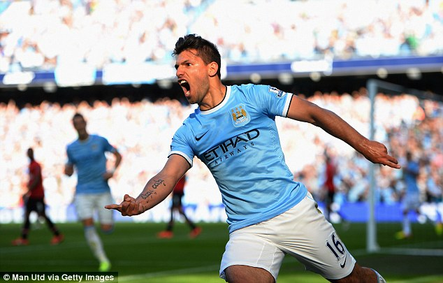 At the double: Sergio Aguero scored twice as City romped to victory