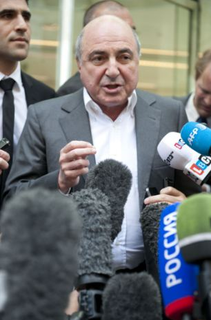 Boris Berezovsky speaking outside the high court