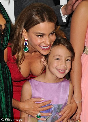 Rising stars: Actresses Sofia Vergara and Aubrey Anderson-Emmons pose after winning Best Comedy Series
