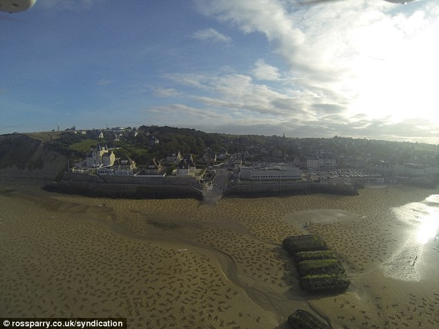 D-Day tribute created by artists on the Arromanches beach in Normandy