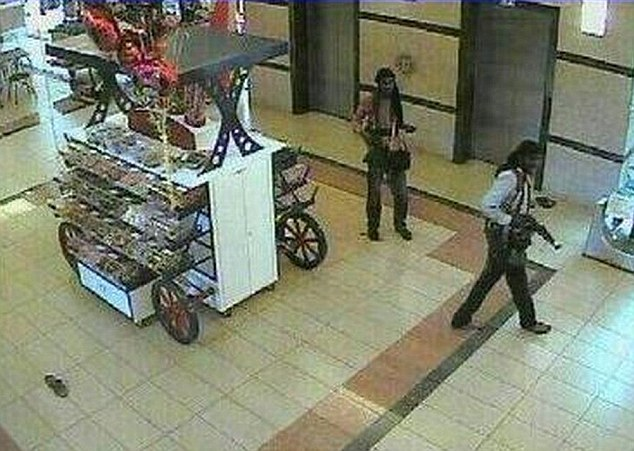 Ominous: A picture purportedly showing gunmen entering the mall