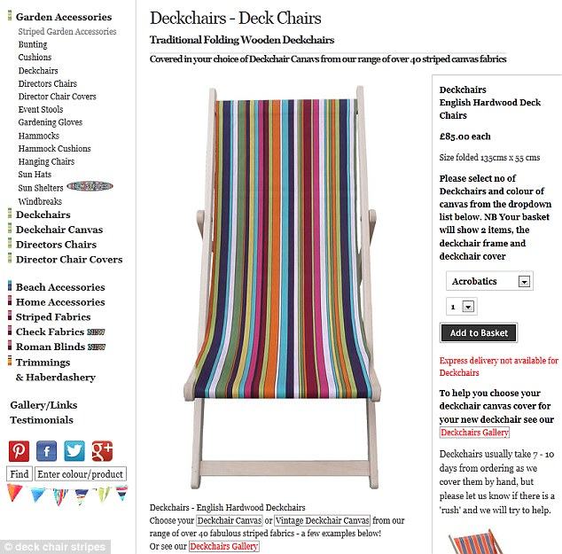 Deckchair Stripes sell ready-made deckchairs as well as cushions and material