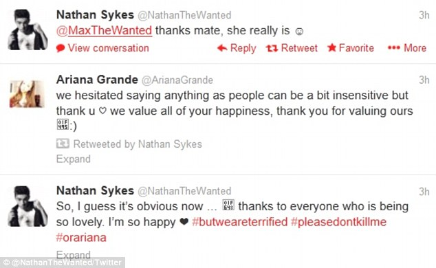 We're together: Nathan Sykes from The Wanted reveals his relationship with Ariana Grande on Twitter