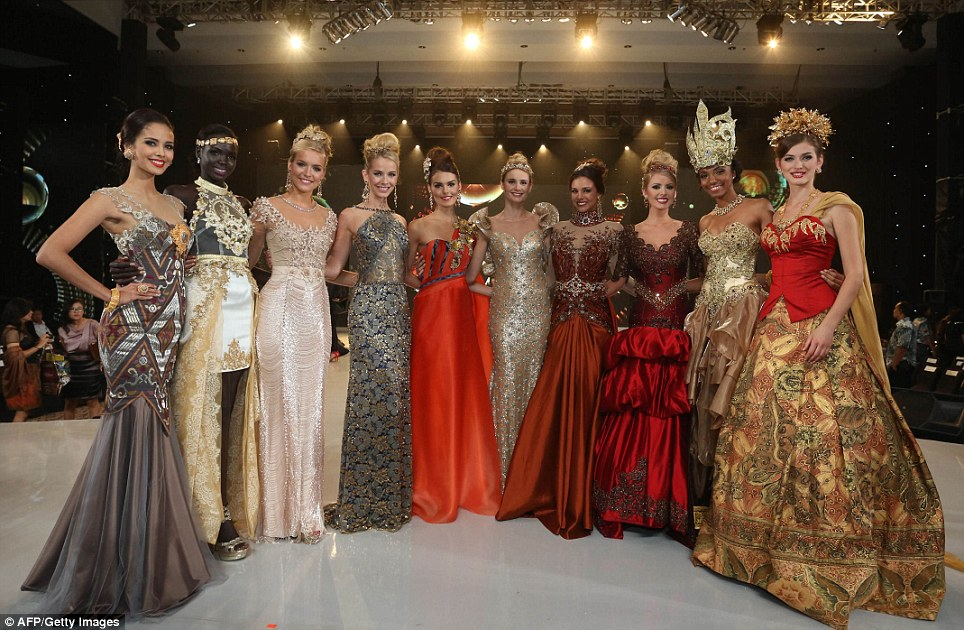 Final ten: Miss World contestants who were selected as top 10 in the fashion show pose during the event at the convention centre in Nusa Dua, in Indonesia's resort island of Bali
