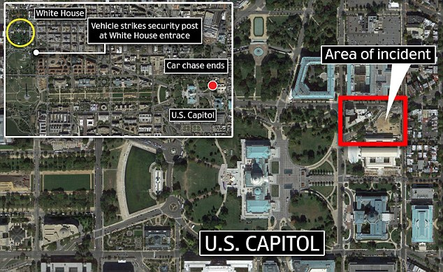 Events Unfolded just after 2 p.m. today in Washington D.C. when the vehicle driven by an unidentified woman crashed into security gates at the White House sparking a furious chase that ended at the Capitol
