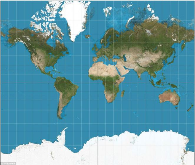 A standard Mercator world map does not truly reflect the landmass of Africa