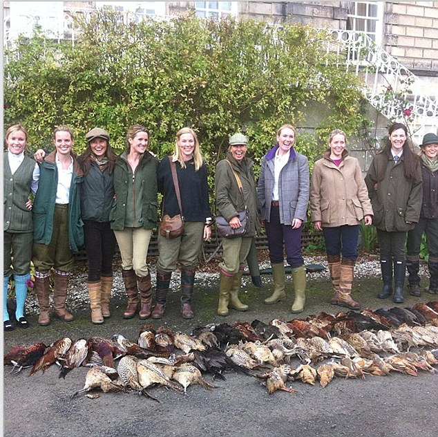 Shoot: Pippa (third left) poses with the party, including Charlotte More Nisbett (far left) and 50 birds