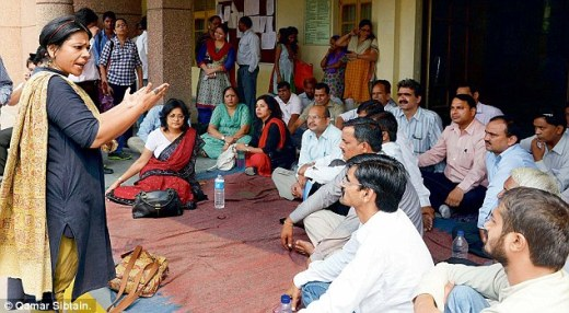 Teachers held a protest at Ambedkar College in east Delhi