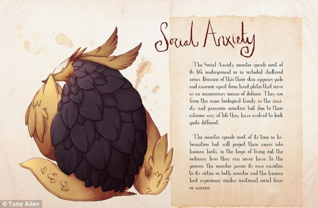 The Social Anxiety monster has pale anaemic-looking skin because it spends most of its life underground