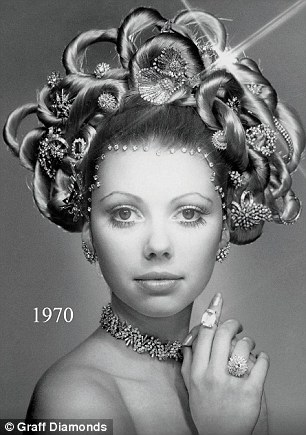 Recreating his iconic Hair and Jewel image from the Seventies (left), which featured a model wearing one million dollars of diamonds, now the 75-year-old decided to use $500 million worth of precious jewels (right)