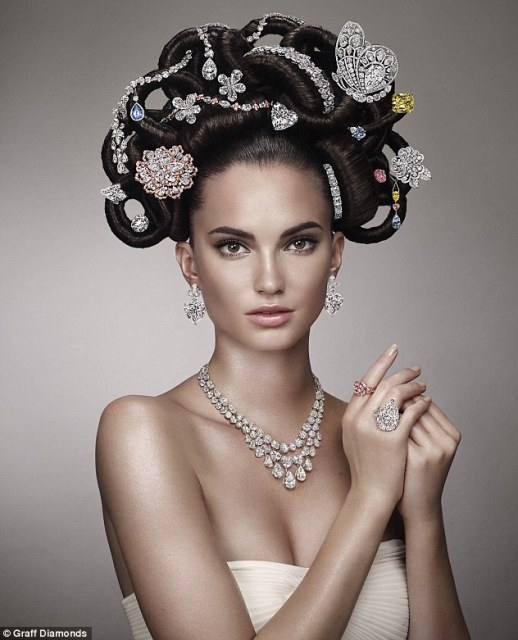 Model Dalia Gunther had her chignon outfitted with 22 rare jewels created at Graff¿s headquarters in London, inlcuding a 52.73-carat vivid yellow emerald cut diamond ring