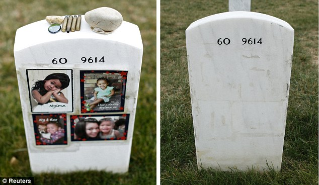 Stripped away: Family photos and mementos (left) on a grave stone of U.S. Army Staff Sgt. Quadi Hudgins, who died in Iraq, which were later removed (right) at the Arlington National Cemetery under new policy