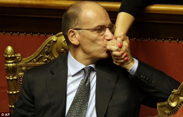 Tackling deficit: Prime Minister Enrico Letta will follow the sale with £1billion of austerity measures next year