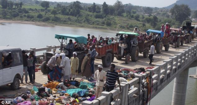 The dead included 42 women, 30 children and 17 men who were crossing the bridge towards a temple