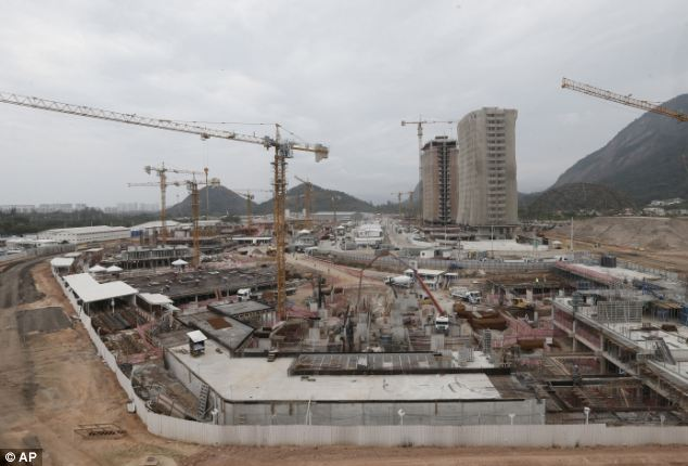 Preparations: The Olympic Village under construction in Rio de Janeiro this week
