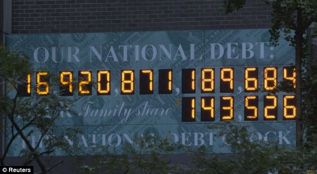 Pushing the limit: The National Debt Clock already registered $16.9 trillion on Tuesday, with no end in sight