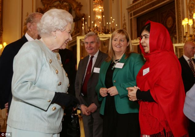 'Honour': Malala told the Queen, 'It is a great honour for me to be here' during the reception at Buckingham Palace