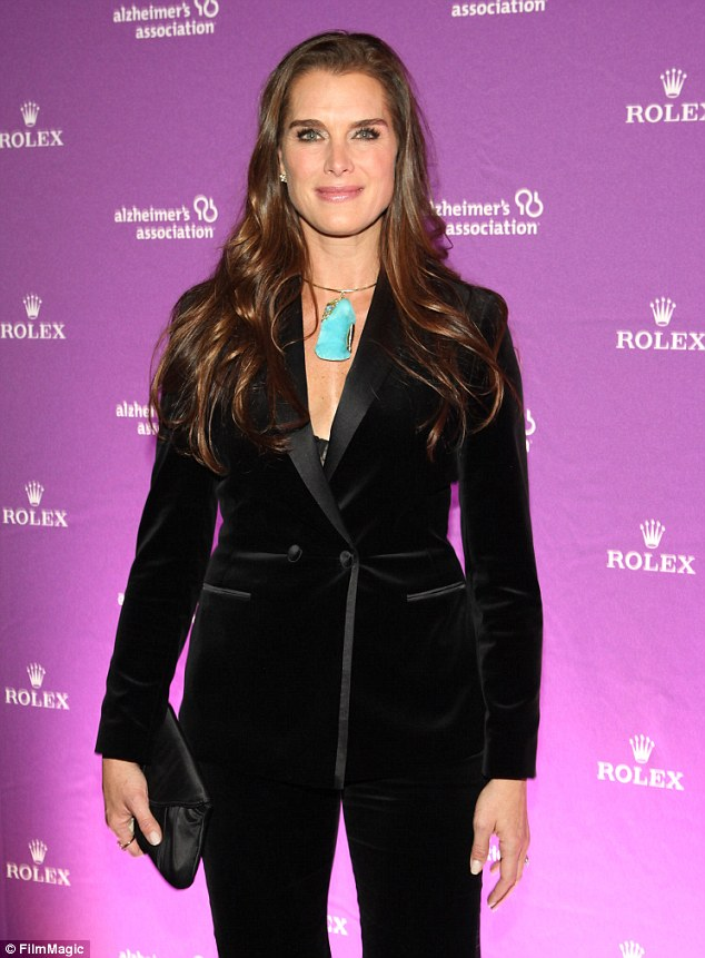 Night And Day Brooke Shields Is Buttoned Up In Black Suit