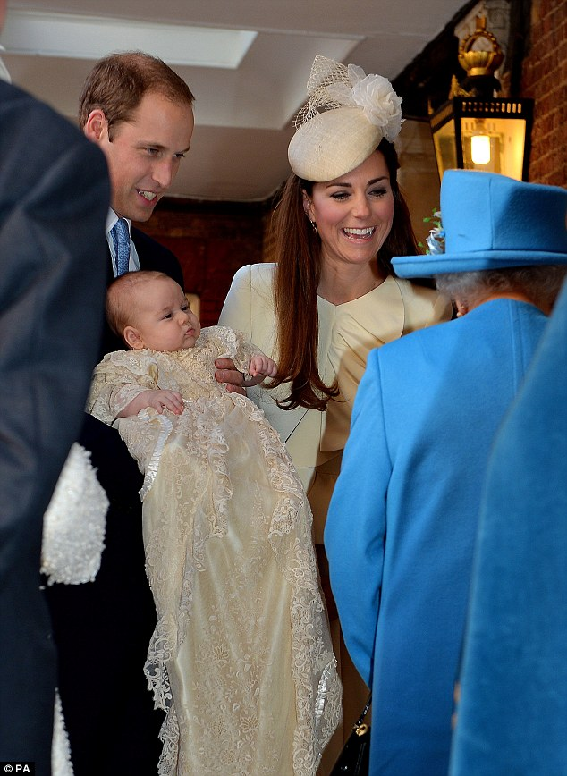 Intimate moment: Kate and Wills were accompanied only by their closest family members and chosen godparents