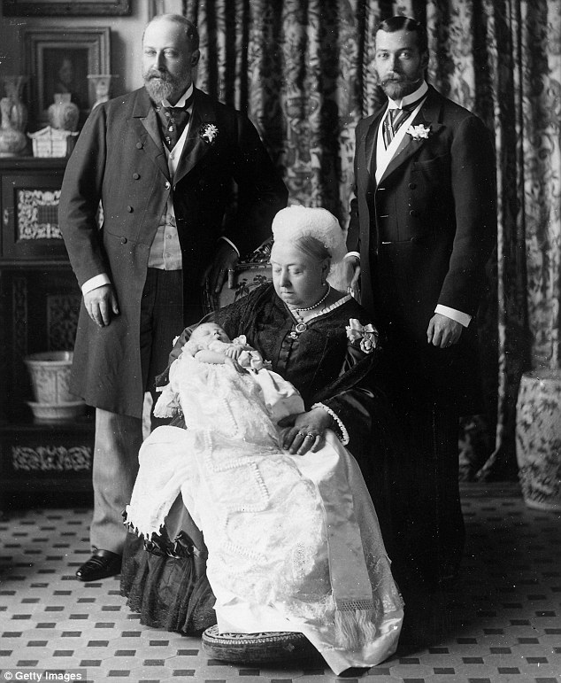Queen Victoria holds the future King Edward VIII with Edward VII (left) and George V (right) at White Lodge in Richmond Park in 1894
