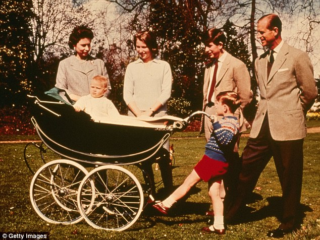 A photo from 1965 shows Queen Elizabeth II and Prince Philip with their children, Prince Charles, Princess Anne, Prince Andrew, and Prince Edward in his Silver Cross