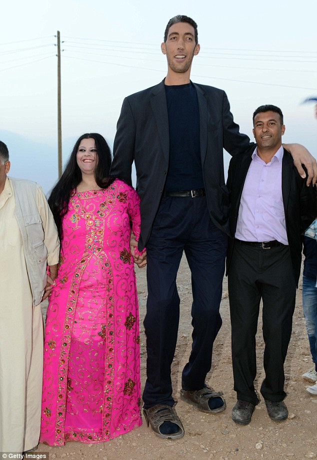 The couple dance the halay, a Turkish national dance. The Turkish farmer - who at eight ft three in, dwarfs his five feet 8 in fiance - is to marry Merve Dibo in a ceremony today