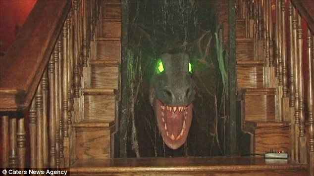 The mansion includes some of the most iconic Munsters features such as Grandpa Munster's dungeon, rotating suit of armour and of course pet dinosaur under the stairs