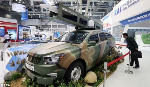 A SUV complete with a drone was on display at the Seoul International Aerospace and Defence Exhibition in South Korea