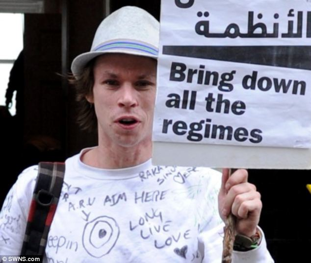 Lauri Love, 28, photographed here during an Occupy protest at Glasgow University, has been charged with allegedly hacking into the computer systems of the United States army, Nasa and other federal agencies