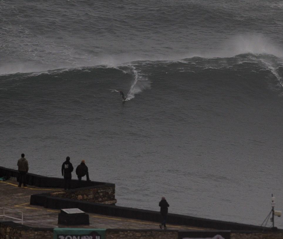 Surfer Rides 100 Ft Wave Portugal