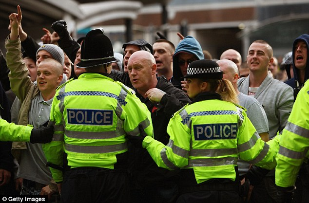 The English Defence League (pictured here at a demonstration in 2009) have been described as Islamophobic by critics