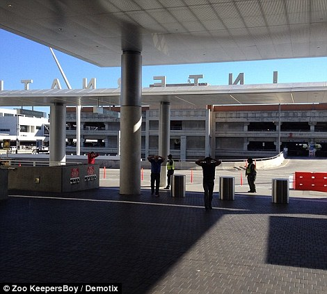 People walk from the terminal with their hands on their heads after the airport was evacuated following the shooting on Friday