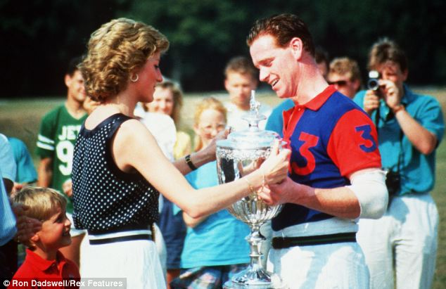 Lovers: Diana and Hewitt are pictured at a polo match in 1989