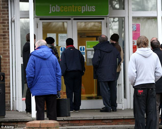 Unemployed line up at a Jobcentre Plus: Immigrants from outside Europe have taken £100¿billion more in benefits and services than they paid back in taxes, a major study revealed yesterday