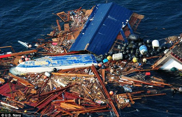 Gigantic: A floating island of debris the size of Texas is floating toward California coast after washing into the Pacific in Japan's horrific 2011 tsunami