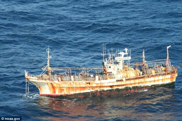 Large items: The 164ft Japanese fishing vessel Ryou-Un Maru entered US waters March 31, 2012, on its ghostly journey after being washed away by the massive wave. The ship eventually sank in the Gulf of Alaska