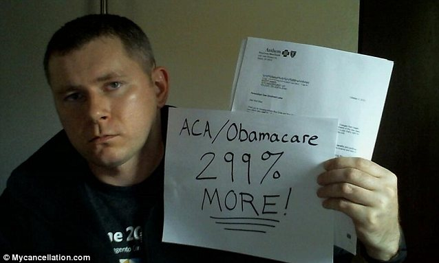This man's Anthem BlueCross BlueShield policy was cancelled, and he was offered new insurance at nearly triple the price. He send this photo to MyCancellation.com