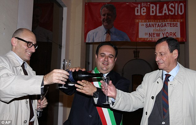 International appeal: The mayor of Sant'Agata de' Goti in Italy, De Blasio's grandfather's hometown, celebrated the victory from Europe