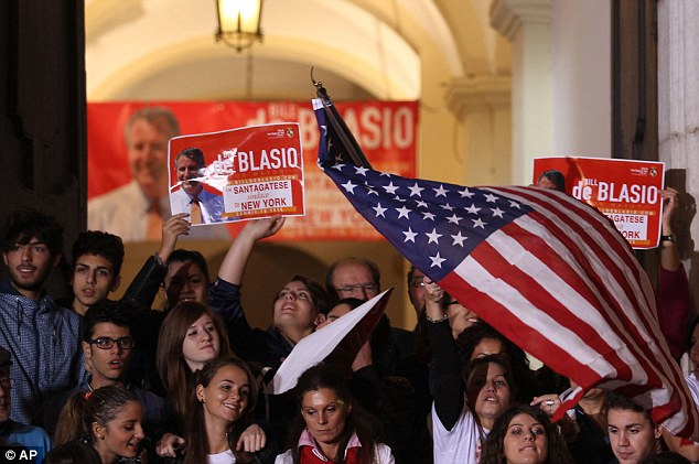 Italians in De Blasio's ancestral hometown gathered to celebrate the victory of the half-Italian-American