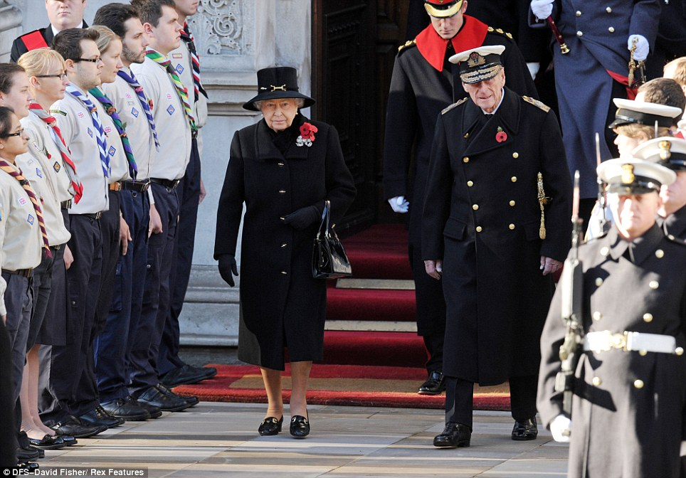 Royal attendance: The Queen (left) and Prince Philip, Duke of Edinburgh (front right) arrive at the Cenotaph in Central London, ahead of Prince Harry (top)