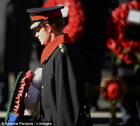 Prince Harry during the annual Remembrance Sunday service