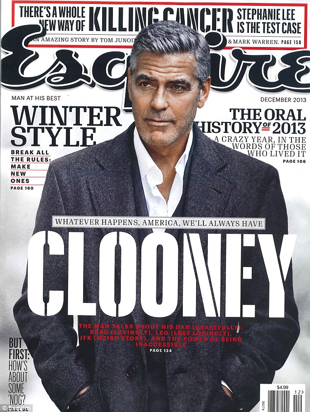 Leading man: George Clooney graces the cover of Esquire... and mouths off about less than gracious stars in Hollywood